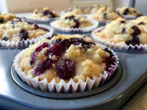 "Muffins de blueberry e manteiga ""beurre noisette"""