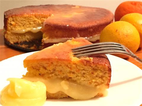 Bolo de tangerina com curd de limão siciliano