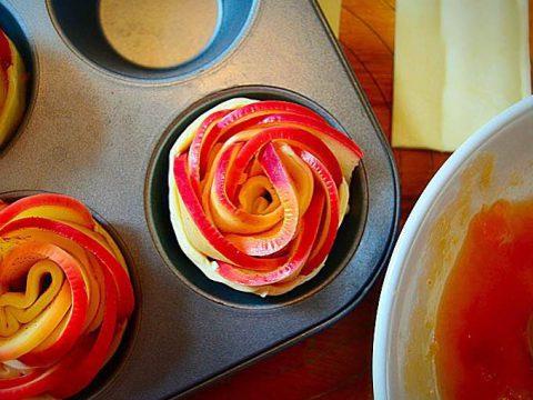 Rosa de maçã e canela em massa folhada