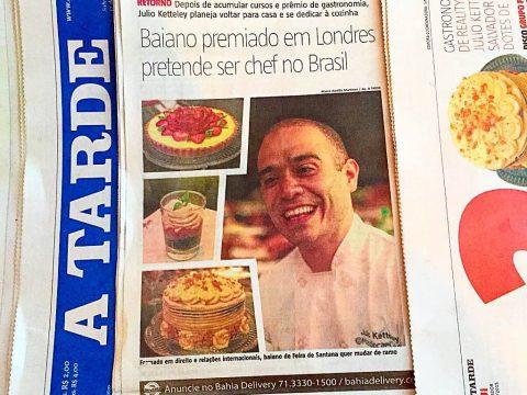 A TARDE – Baiano premiado em Londres pretende ser chef no Brasil