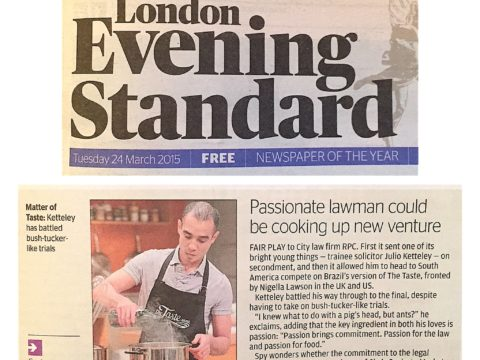 LONDON EVENING STANDARD – Passionate lawman could be cooking up new venture
